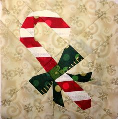 """Candy Cane block design by Janeen at Quilt Art Designs, from the Paper Piecing 1/4"""" digital magazine Issue 3"""