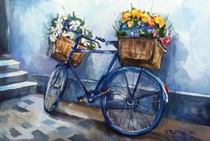 Bicycle with two flower baskets cityscape city by alisiasilverART