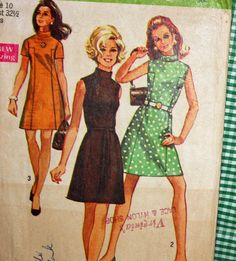 Vintage 1960s Sewing Pattern Simplicity 8588 Misses'