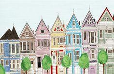 San Francisco Victorian Colorful Houses Painted Ladies Illustration Art Print. $30.00, via Etsy.
