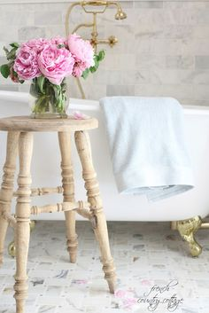 French Cottage Bathroom Before & After, Tips and Giveaway - French Country Cottage French Country Cottage, French Country Style, Shabby Cottage, Cottage Bath, Cottage Style, Country Chic, Country Cottages, Rose Cottage, Country Homes