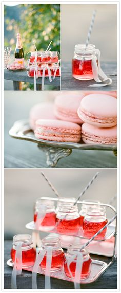 Mason jar favors and ideas - Mini pink bubbly cocktails served up in short masons is a great idea for wedding, or your upcoming New Year's Eve party. Mason Jar Favors, Mini Mason Jars, Mason Jar Cocktails, Pink Cocktails, Pink Drinks, Veuve Cliquot, French Macaroons, Pink Macaroons, 100 Layer Cake