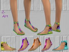 The Sims Resource: Rainbow sandals by Zuckerschnute20 • Sims 4 Downloads