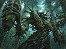 Magic: The Gathering — The Art of Matthew Stewart Elves Fantasy, Fantasy Monster, Fantasy Rpg, Dark Fantasy, Mythical Creatures Art, Forest Creatures, Fantasy Creatures, Tree Monster, Monster Art