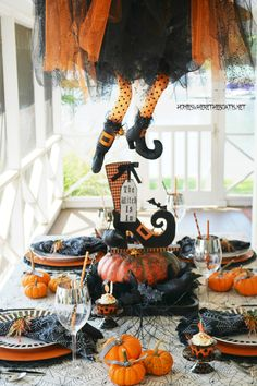 The Witch Is In: Floating Witch Halloween Tablescape | homeiswheretheboatis.net #Halloween #witch #tablescape