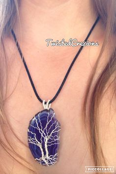 Twin tree of life friendship pendant on a beautiful blueish-purple agate. ********** The tree of life is represented in many different cultures and known by many different names, but commonly represents a mystical and magical tree whose fruit imparts eternal life. The components of the tree being the roots, trunk, branches, leaves, and fruit all have important symbolism to live up to. The roots dig deep into the ground, the trunk establishes a sturdy foundation, the branches reach out for…