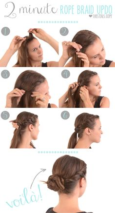 Peinados - Hairstyles - The Rope Braid Updo -- super easy and perfect for unwashed hair, growing out your bangs, or days you're just short on time. Up Hairstyles, Pretty Hairstyles, Easy Hairstyle, Hair Updo, Protective Hairstyles, Rope Braid Tutorials, Hair Tutorials, Tips Belleza, Braided Updo