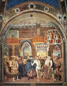 DOMENICO DI BARTOLO Reception of Pilgrims and Distribution of Alms  1442 Fresco, height c. 450 cm Pellegrinaio, Spedale di Santa Maria della Scala, Siena  This fresco is located in the 4th bay on the west wall of the Pellegrinaio in the Spedale di Santa Maria della Scala. The Pellegrinaio, situated on the ground floor of the hospital, is a fourteenth-century room which took the form of a long vaulted hall.