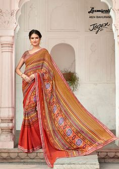 🔎 Browse this 👌 amusing multi colored #georgette_printed_saree along with #unstitched_blouse, #Bhagalpuri lace border online from www.laxmipati.com. We deliver all over the #World like #USA, #UK, #Canada, #Australia, #Dubai, #Malaysia, #Mauritius, #Pakistan, #Bangladesh, #Nepal, South Asia ... ....Ready to 🚢 Ship Fashionable #Georgette_Saree for Women 👩. #Catalogue- JOGAN Design Number 4624 #Price: ₹1375.00 #OrderOnline #JOGAN0317 #Laxmipatis Laxmipati Sarees, Georgette Sarees, Kurti, Lace Border, Printed Sarees, Daily Wear, Bridal Collection, Indian Beauty