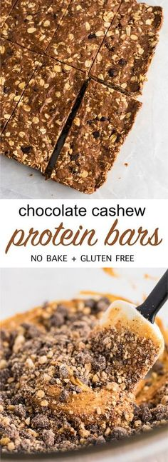 No bake chocolate cashew protein bars (vegan, gluten free.) An easy protein bar recipe perfect for meal prep. #nobake #proteinbars #vegan #glutenfree #mealprep