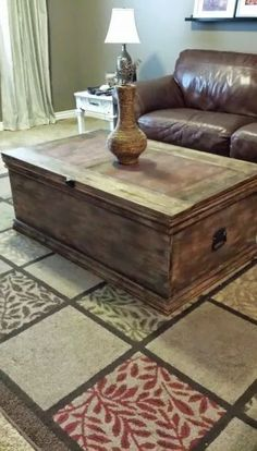 This large wooden storage trunk has ample room for all of your storage needs. Use it at the foot of the bed for blankets and pillow storage or as a coffee table storing board games. Versatile and beautiful in any room! Diy Storage Trunk, Pillow Storage, Blanket Storage, Bed Storage, Rustic Trunk Coffee Table, Coffee Table Plans, Diy Coffee Table, Coffee Table With Storage, Wooden Trunk Diy