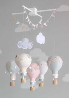 Baby Mobile, Pink and Grey, Nursery Mobile, Pink and Grey Nursery Decor, Custom Baby Mobile, i18 by sunshineandvodka on Etsy https://www.etsy.com/listing/197382732/baby-mobile-pink-and-grey-nursery-mo (Top Design Girls)