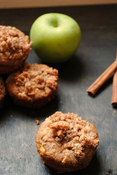 #paleo Apple Cinnamon Streusel Muffins | Muffin Batter: 1 apple, small diced; 1 cup almond meal; 3 Tbsp. coconut flour; 3 eggs, beaten; 1/4 cup melted coconut oil; 2 tablespoons honey or maple syrup; 1-2 Tbsp. cinnamon; 1/2 tsp. baking soda; 2-3 Tbsp. almond milk (add gradually); pinch of salt | Streusel topping: 1/2 cup almond meal; 2 tsp. cinnamon (or more); 1 Tbsp. maple syrup; 1 Tbsp. cold butter
