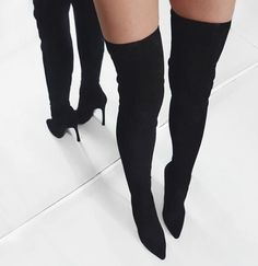 Jasmin Black Suede Leather Boots – Catwalk Connection   size 37