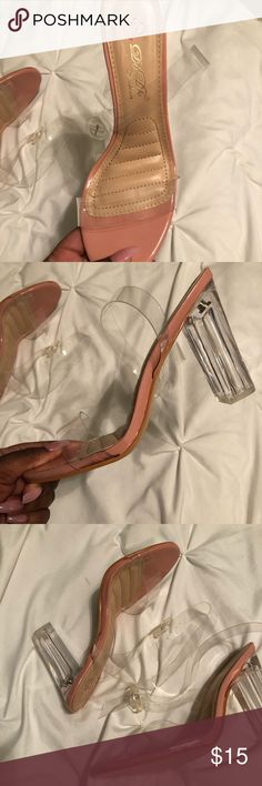 Pink and clear block heels Pink and clear block heels, never worn. Shoes Heels