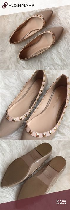 NWOT Wild Diva Lounge Studded Flats These classy studded flats are perfect for the fashionista who is a little bit business and a little bit rock 'n' roll. A nude/beige pointed toe with gold studs accenting the top of the shoe, these flats are sassy and chic at the same time. Never been worn and true to size! Wild Diva Shoes Flats & Loafers