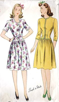 """1940s Junior Misses Two Piece Dress Vintage Sewing Pattern, Simplicity 4633 Bust 32"""". $22.00, via Etsy."""