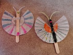 Butterfly Craft Popsicle sticks for the body Coffee Filters for the Wings Pom Poms for the eyes Pipe Cleaners for the attennas My 2.5 year old helped me with this project and she did quite well. I suggest using stick glue instead of liquid glue (diy butterfly antenna)