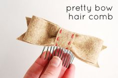 bow hair comb by wildolive, via http://wildolive.blogspot.com/2012/01/project-little-house-inspired-bow.html