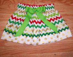 Girls skirt, Infant skirt, toddler skirt, Custom..Christmas Chevron..sizes newborn-16 girls