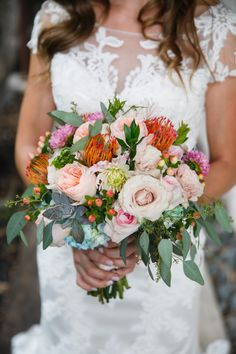 Gorgeous textural and bright bridal bouquet.