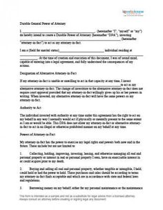 Last will and testament template free printable form 8ws free downloadable durable general power of attorney form solutioingenieria Image collections