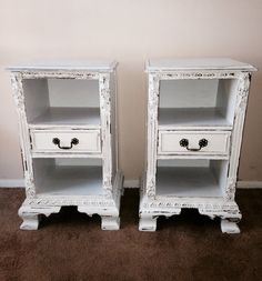 Pair Vintage Shabby Chic Nightstands by antique2chic on Etsy, $250.00