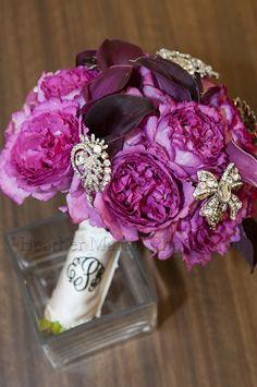 purple bridal bouquet, purple wedding flowers, brooch bouquet, Heather Martin Photography, St. Clairsville OH wedding