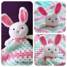 Free crochet bunny lovey pattern. This would make a beautiful new baby girl gift! Or change the colors for a boy.