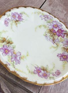 Limoges china purple floral gold rimmed plate by VintageLaneShop