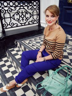 blue pants with camel top. Will try opposite. Camel pants and cobalt top.