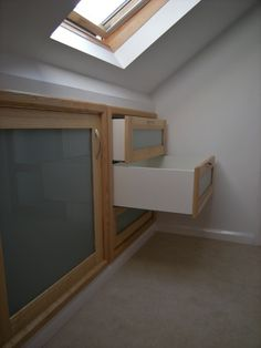 attic storage c/o Northmark - Loft Conversion Storage Attic Apartment, Attic Rooms, Attic Spaces, Small Spaces, Eaves Storage, Loft Storage, Storage Ideas, Drawer Storage, Smart Storage