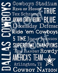 Dallas Cowboys Subway Art Print 16x20 Kasey Trulin Clark- good for your bathroom?