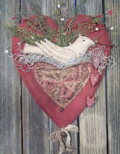 Primitive Valentine Heart Dove Door Hanger by rockriverstitches