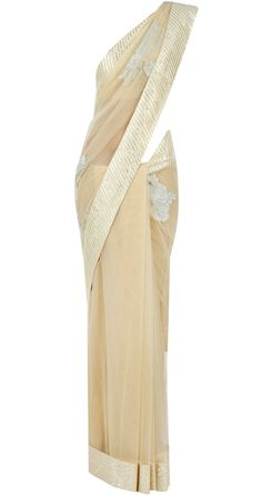 Beige applique sari available only at Pernia's Pop-Up Shop.