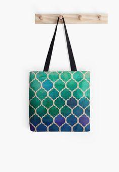 « Mosaique bleu/vert/violet - zellige marocain - morrocain pattern » par LEAROCHE Tote Pattern, Tote Bag, Violet, Ethnic Chic, Crafts, Blue Green, Bag, Manualidades, Totes