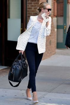 123 photos of celebrities in their best denim looks: Rosie Huntington-Whiteley.