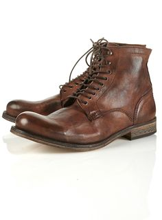 "Hudson""dodger"" brown leather hobnail boot. 100 leather."