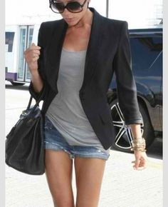 Black blazer, tank top and shorts is a good look! Would look nice with high heels