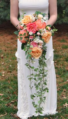 Coral and Cascade Bouquet Trailing Bouquet by Hollysflowershoppe