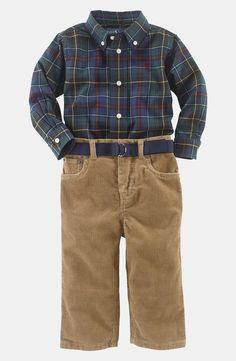 Ralph Lauren Tartan Plaid Shirt & Corduroy Pants (Infant) by nordstrom
