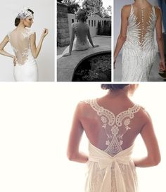 Row 1: left- Arvydas Videika via Wedding Dress Avenue;   centre - via Fashion TV;   right - Mark Zunino for Kleinfeld via Zankyou;   Row 2: Anne Campbell via Weddings by Lilly;   Row 3: left - Valentino via Larissa Luella;   right - Retro Vintage Weddings on Etsy