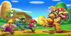 This is my fanart of Mario 64 game, i play and finished it last year in my DS (Mario 64 DS with Yoshi, Wario and Luigui taking part in the game). I mixed some of the art direction in the wii/. Mario Und Luigi, Mario Bros., Mario Kart, Super Mario Kunst, Super Mario Art, Mario Fan Art, Mundo Dos Games, Super Mario Brothers, Super Smash Bros