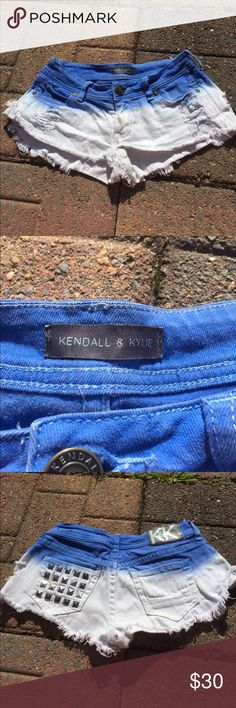 Kendall & Kylie blue ombré shorts Preowned and in excellent condition. I loved these Shorts so much and hate to let them go, but they show too much of my butt now that I can't wear them. Distressed style. Size 0. Blue and white. Studded back pocket Kendall & Kylie Shorts Jean Shorts
