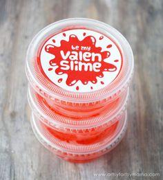 Free Printable Valentine Valenslime Labels at artsyfartsymama.com