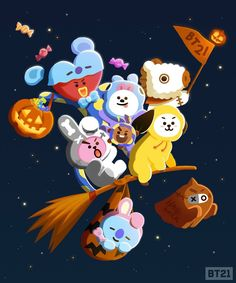 This who would be who? Share your Tag show off your costume 👻🎃 Until Halloween… Bts Chibi, Bts Halloween, Halloween Icons, Happy Halloween, Les Bts, A Silent Voice, Halloween Wallpaper, Bts Drawings, Line Friends