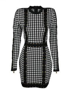 BALMAIN Balmain Harlequin-Pattern Knit Dress. #balmain #cloth #dresses