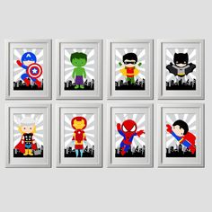 Superhero wall art, digital files instant download at purchase, set of 10 adorable 8x10 inch print files