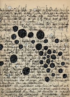 """Palimpest Asemic Correspondence by Cecil Touchon,  Ink on 1920""""s Mexican geography journal"""