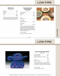 15 Low fire glaze recipes from the pros. Recipe cards for low-fire pottery gazes. www.ceramicartsdaily.com